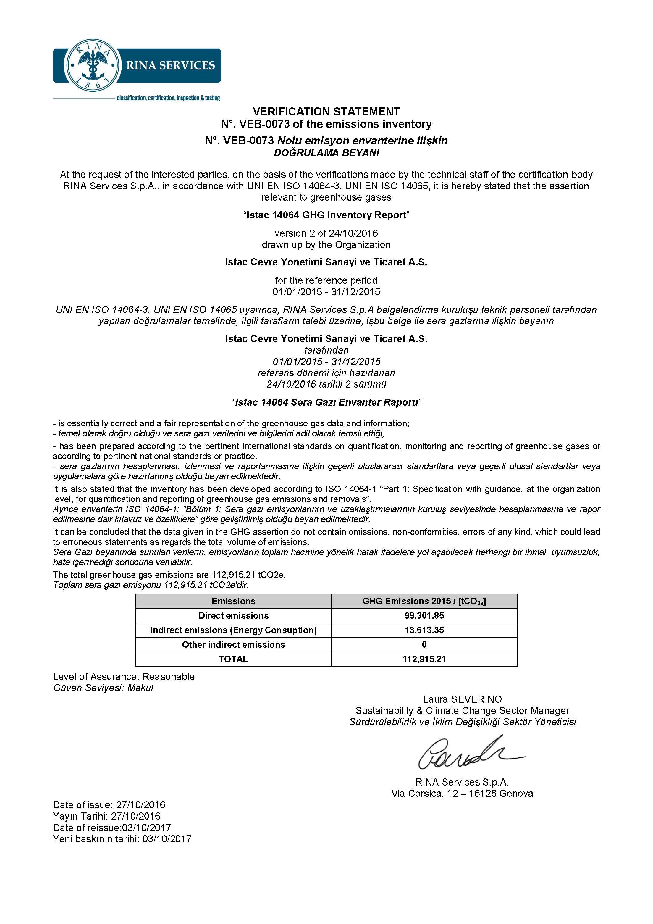İSTAÇ AŞ ISO 14064-1 Belgesini almaya hak kazandı