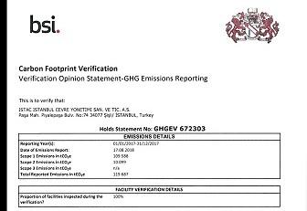 İklim Değişikliği ile mücadelede İSTAÇ'a ISO 14064-1 belgesi